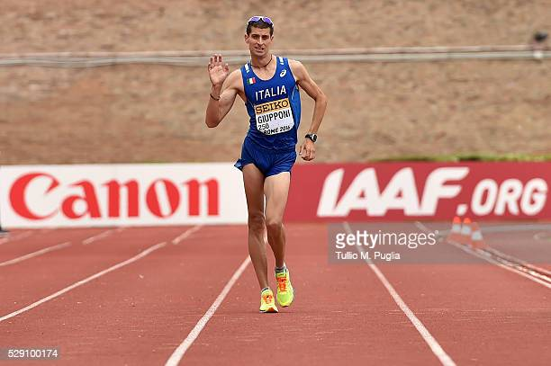 Matteo Giupponi walks to the finish line celebrates in the the 50KM Race Walk at IAAF Race Walking Team Campionship Rome 2016 on May 7 2016 in Rome...