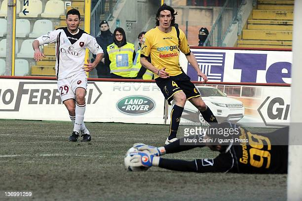 Matteo Guardalben goalkeeper of Modena FC saves his goal on a shot of Simone Rizzato of Reggina Calcio during the Serie B match between Modena FC and...