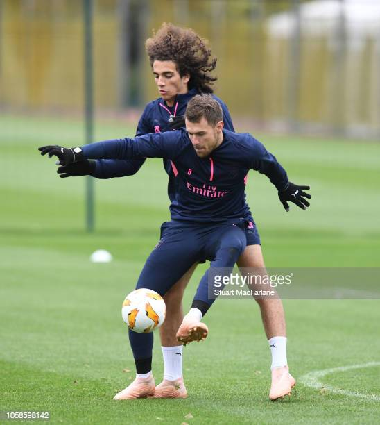 Matteo Guendouzi and Aaron Ramsey of Arsenal during a training session at London Colney on November 7 2018 in St Albans United Kingdom