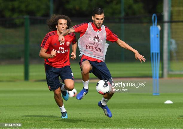 Matteo Guendouzi and Dani Ceballos of Arsenal during the Arsenal Training Session at London Colney on July 26, 2019 in St Albans, England.