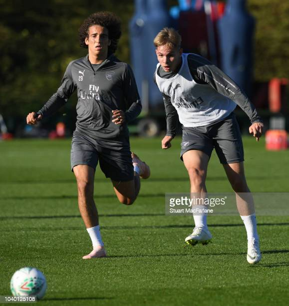 Matteo Guendouzi and Emile Smith Rowe of Arsenal during a training session at London Colney on September 25 2018 in St Albans England