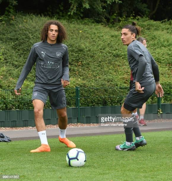 Matteo Guendouzi and Hector Bellerin of Arsenal during a training session at London Colney on July 11 2018 in St Albans England
