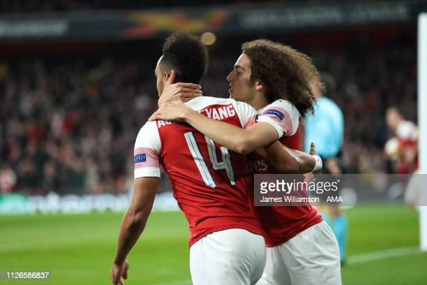 Matteo Guendouzi and PierreEmerick Aubameyang of Arsenal celebrates after scoring a goal to make it 10 during the UEFA Europa League Round of 32...