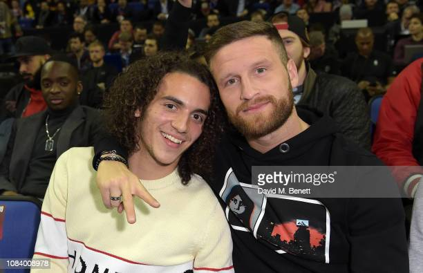 Matteo Guendouzi and Shkodran Mustafi attend the NBA London Game 2019, between the Washington Wizards and New York Knicks at The O2 Arena on January...