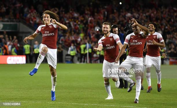 Matteo Guendouzi celebrates after Arsenal won the penalty shoot out during the Preseason friendly International Champions Cup game between Arsenal...