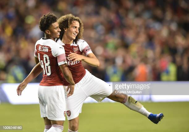 Matteo Guendouzi celebrates after Arsenal won the penalty shoot out with team mate Reiss Nelson during the Preseason friendly International Champions...