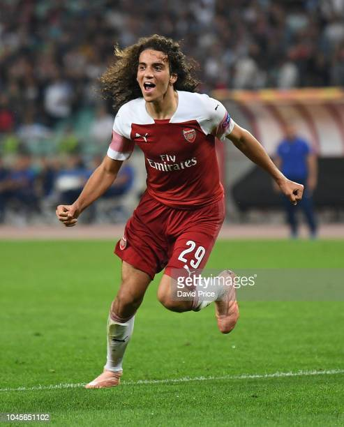 Matteo Guendouzi celebrates scoring Arsenal's 3rd goal during the UEFA Europa League Group E match between Qarabag FK and Arsenal at on October 4,...
