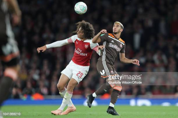 Matteo Guendouzi of Arsenal and Said Benrahma of Brentford during the Carabao Cup Third Round match between Arsenal and Brentford at Emirates Stadium...