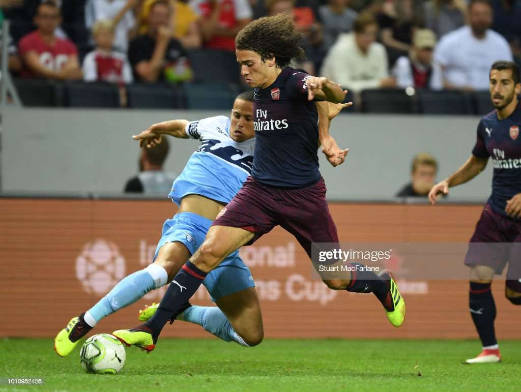 Matteo Guendouzi of Arsenal breaks past Luiz Felipe of Lazio during the Pre-season friendly between Arsenal and SS Lazio on August 4, 2018 in Stockholm, Sweden.