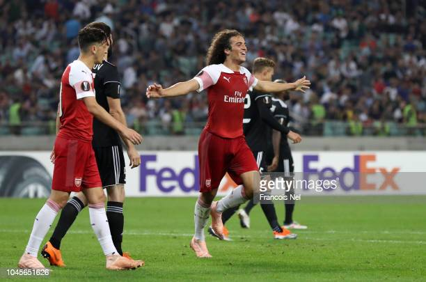 Matteo Guendouzi of Arsenal celebrates after scoring his team's third goal during the UEFA Europa League Group E match between Qarabag FK and Arsenal...