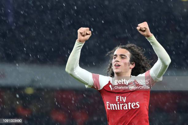 Matteo Guendouzi of Arsenal celebrates their 2nd goal during the Premier League match between Arsenal FC and Cardiff City at Emirates Stadium on...