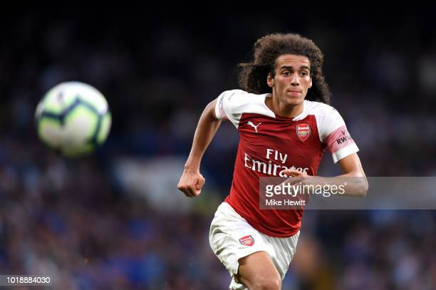 Matteo Guendouzi of Arsenal chases the ball during the Premier League match between Chelsea FC and Arsenal FC at Stamford Bridge on August 18 2018 in...