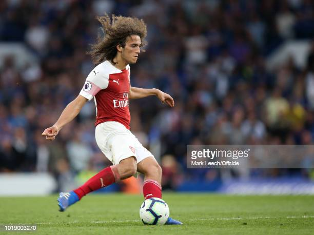 Matteo Guendouzi of Arsenal controls the ball during the Premier League match between Chelsea FC and Arsenal FC at Stamford Bridge on August 18 2018...