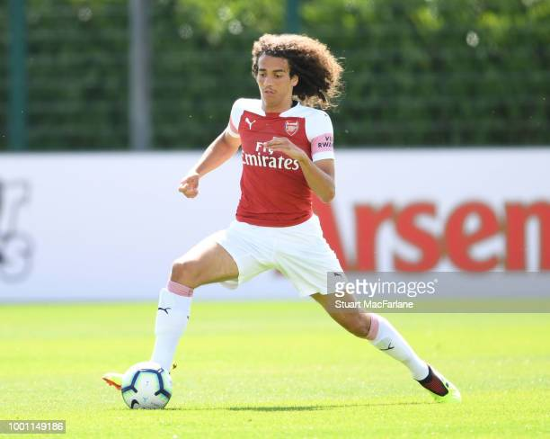Matteo Guendouzi of Arsenal during a pre season friendley between Arsenal and Crawley Town at London Colney on July 18 2018 in St Albans England...