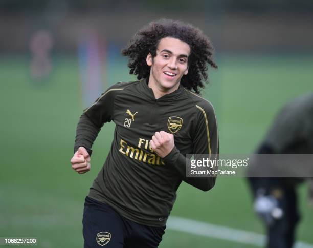 Matteo Guendouzi of Arsenal during a training session at London Colney on December 4 2018 in St Albans England