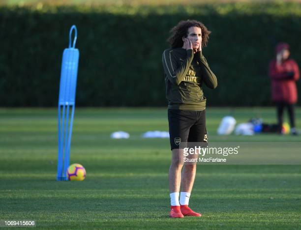 Matteo Guendouzi of Arsenal during a training session at London Colney on December 7 2018 in St Albans England