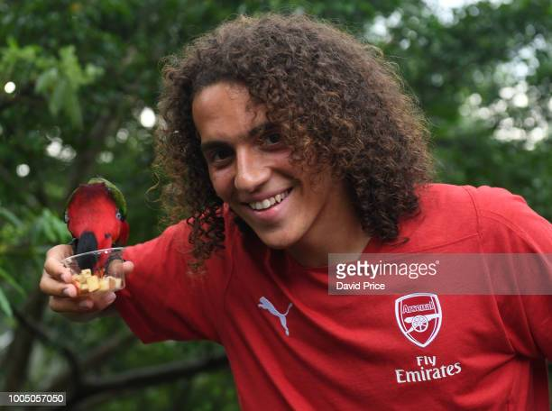 Matteo Guendouzi of Arsenal during a visit to Jurong Bird Park on July 25 2018 in Singapore