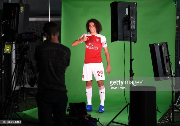Matteo Guendouzi of Arsenal during the Arsenal 1st team photocall at London Colney on August 8 2018 in St Albans England