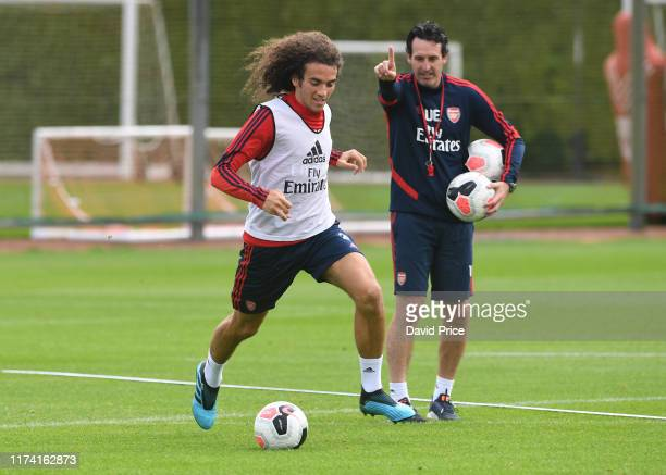 Matteo Guendouzi of Arsenal during the Arsenal Training Session at London Colney on September 12, 2019 in St Albans, England.