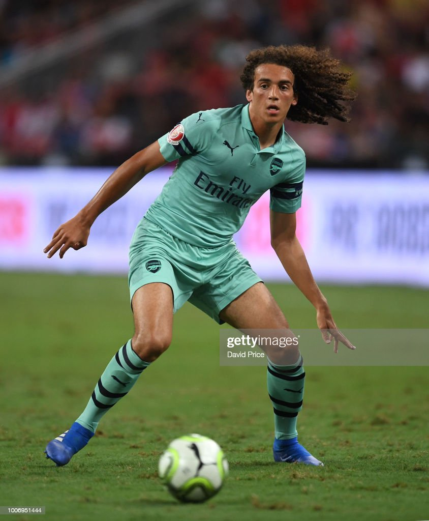 Matteo Guendouzi of Arsenal during the International Champions Cup match between Arsenal and Paris Saint Germain at the National Stadium on July 28, 2018 in Singapore.