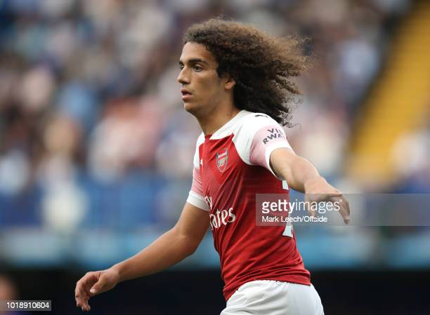 Matteo Guendouzi of Arsenal gestures during the Premier League match between Chelsea FC and Arsenal FC at Stamford Bridge on August 18 2018 in London...