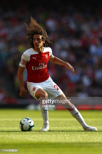 Matteo Guendouzi of Arsenal in action during the Premier League match between Arsenal FC and Crystal Palace at Emirates Stadium on April 21, 2019 in...