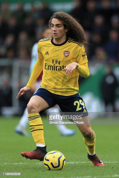 Matteo Guendouzi of Arsenal in action during the Premier League match between Burnley FC and Arsenal FC at Turf Moor on February 2 2020 in Burnley...