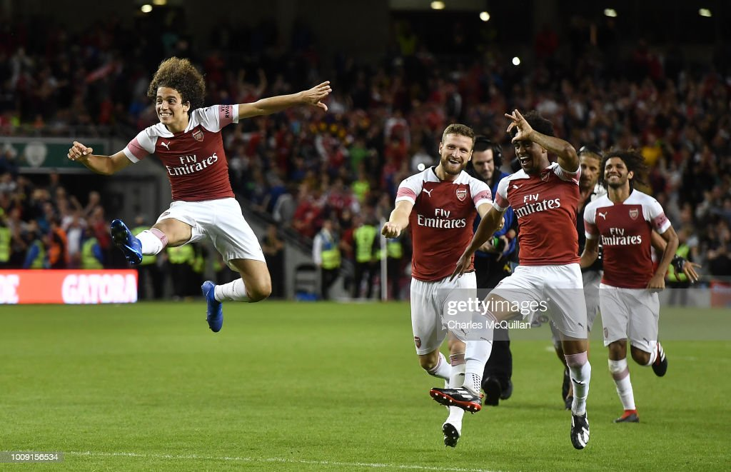 Matteo Guendouzi of Arsenal jumps in celebration after Arsenal won the penalty shoot out during the Pre-season friendly International Champions Cup game between Arsenal and Chelsea at Aviva stadium on August 1, 2018 in Dublin, Ireland.