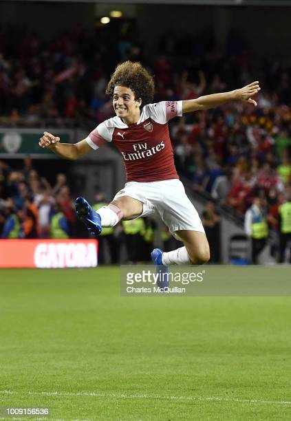 Matteo Guendouzi of Arsenal jumps in celebration after Arsenal won the penalty shoot out during the Preseason friendly International Champions Cup...