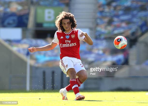 Matteo Guendouzi of Arsenal passes the ball during the Premier League match between Brighton & Hove Albion and Arsenal FC at American Express...