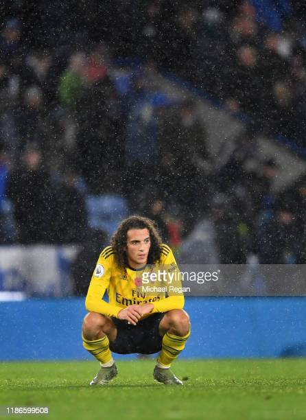 Matteo Guendouzi of Arsenal reacts at full-time following the Premier League match between Leicester City and Arsenal FC at The King Power Stadium on...