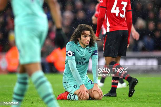 Matteo Guendouzi of Arsenal reacts during the Premier League match between Southampton FC and Arsenal FC at St Mary's Stadium on December 16 2018 in...