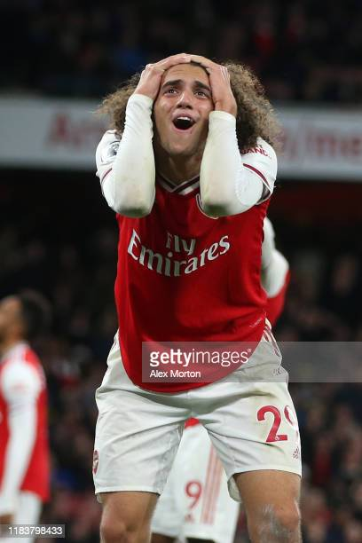 Matteo Guendouzi of Arsenal reacts during the Premier League match between Arsenal FC and Crystal Palace at Emirates Stadium on October 27, 2019 in...