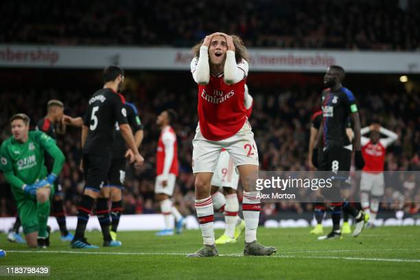 Matteo Guendouzi of Arsenal reacts during the Premier League match between Arsenal FC and Crystal Palace at Emirates Stadium on October 27 2019 in...
