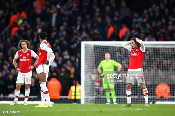 Matteo Guendouzi of Arsenal reacts during the Premier League match between Arsenal FC and Chelsea FC at Emirates Stadium on December 29 2019 in...