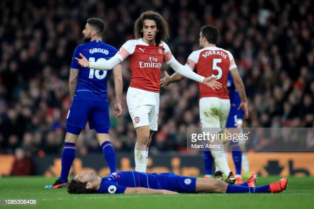 Matteo Guendouzi of Arsenal reacts toward Marcos Alonso of Chelsea during the Premier League match between Arsenal FC and Chelsea FC at Emirates...