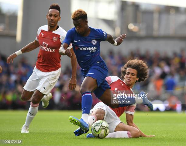 Matteo Guendouzi of Arsenal tackles Callum HudsonOdoi of Chelsea during the Preseason friendly between Arsenal and Chelsea on August 1 2018 in Dublin...