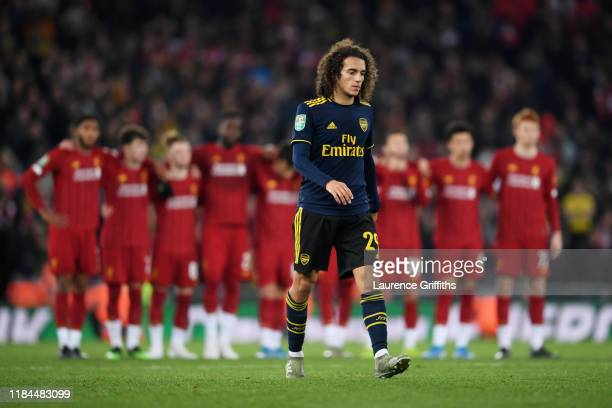 Matteo Guendouzi of Arsenal walks towards the area to take a penalty during the penalty shoot out during the Carabao Cup Round of 16 match between...