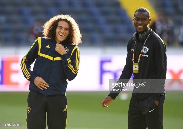 Matteo Guendouzi of Arsenal with Evan N'Dicka of Eintracht before the UEFA Europa League group F match between Eintracht Frankfurt and Arsenal FC at...