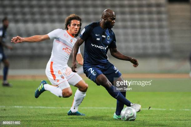 Matteo Guendouzi Olie of Lorient and Frederic Bong of PFC during the French Ligue 2 match between Paris FC and Lorient at Stade Charlety on November...