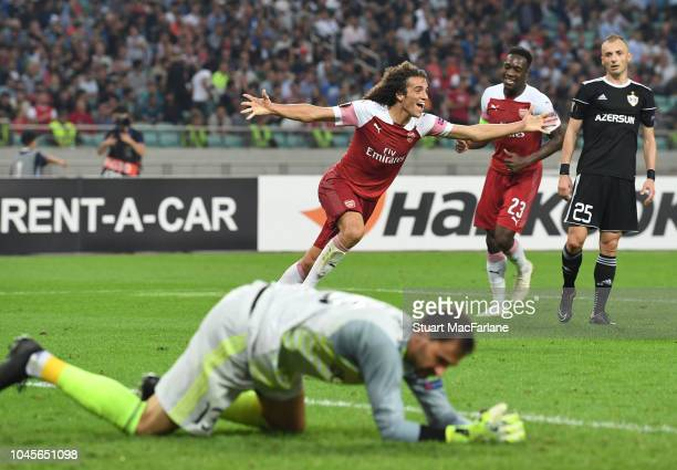 Matteo Guenduzi celebrates scoring the 3rd Arsenal goal during the UEFA Europa League Group E match between Qarabag FK and Arsenal at on April 10,...