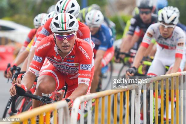 Matteo Malucelli from Androni Sidermec Bottecchia team leads the peloton during the fifth and final stage of the 2017 Tour of China 2, the 91.2km...