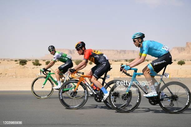 Matteo Malucelli of Italy and Team Caja Rural-Seguros RGA / Mark Cavendish of United Kingdom and Team Bahrain-Mclaren / Zhandos Bizhigitov of...