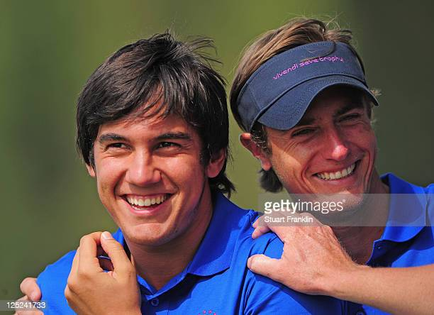 Matteo Manassaro and Noicolas Colsaerts of the Continental Europe team look happy during the second days fourball matches at the Vivendi Seve Trophy...
