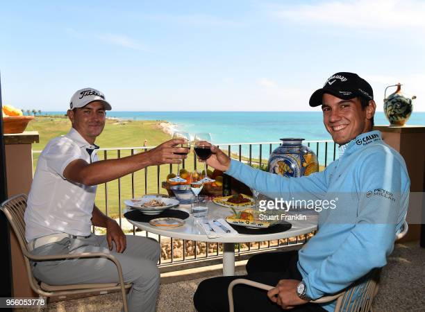 Matteo Manassero of Italy has lunch with Jason Scrivener of Australia prior to the start of The Rocco Forte Open at the Verdura golf resort on May 8...