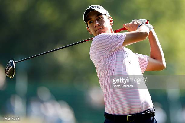 Matteo Manassero of Italy hits a tee shot during a practice round prior to the start of the 113th U.S. Open at Merion Golf Club on June 12, 2013 in...