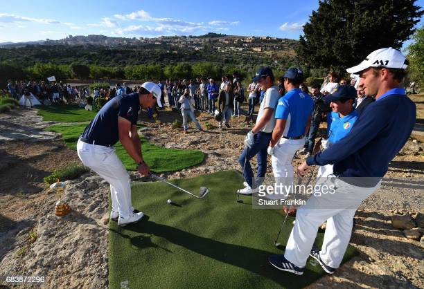 Matteo Manassero of Italy plays a shot during a Ryder Cup Rome 2022 promotion event at the Valley of the Temples prior to the start of The Rocco...