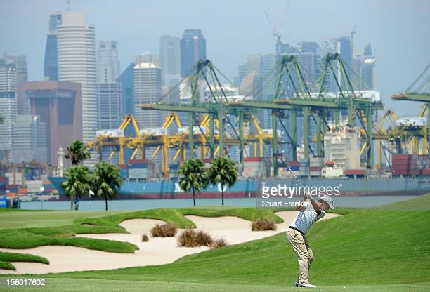 Matteo Manassero of Italy plays a shot during the final round of the Barclays Singapore Open at the Sentosa Golf Club on November 11 2012 in Singapore