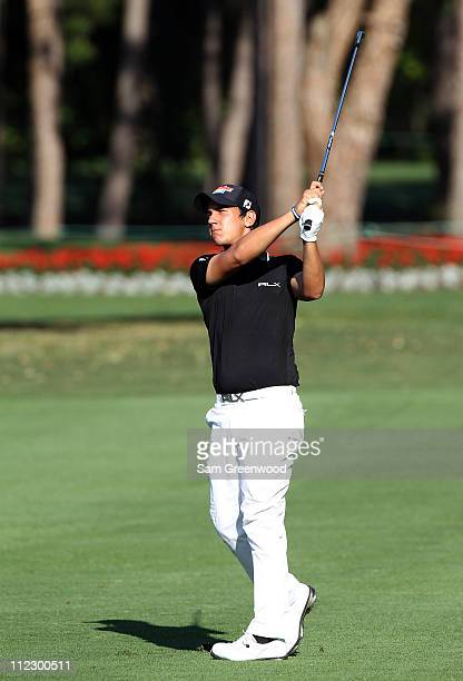 Matteo Manassero of Italy plays a shot during the first round of the Transitions Championship at Innisbrook Resort and Golf Club on March 17 2011 in...