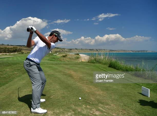 Matteo Manassero of Italy plays a shot during the pro am prior to the start of The Rocco Forte Open at Verdura Golf and Spa Resort on May 17 2017 in...
